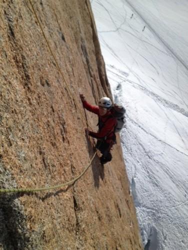 La Rebuffat, Baquet à l'Aiguille du Midi, une voie en granit en 5 sup sur le granit de chamonix