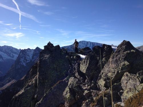 """En arrivant au sommet avant de redescendre en rappel de la voie """" la Grevolle Direct """""""