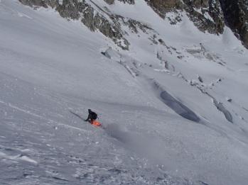 Depuis l'Aiguille d'entrêves, arrivé sur le Glacier de Toule