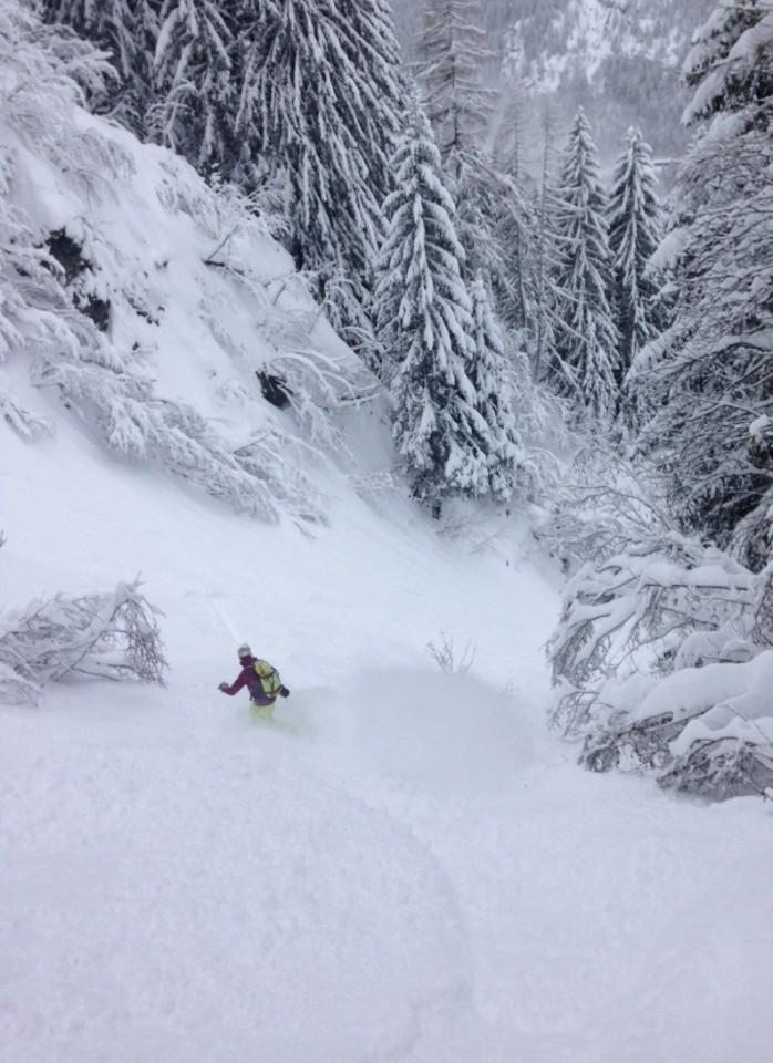 en ski ou en snow le hors pistes aux grands montets...