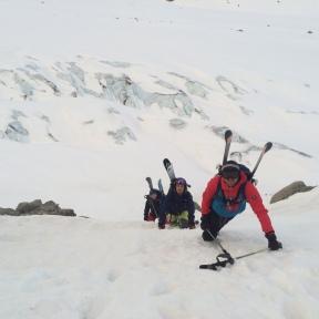 En quittant le Glacier d'Argentiere les premières moraines pour rejoindre le versant Sud du Col du Passon