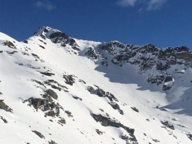 L'itinéraire de monté du Mont Valezan en Face Sud