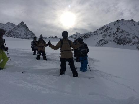 Bonne neige en Heliboard et helisnow au petit combin