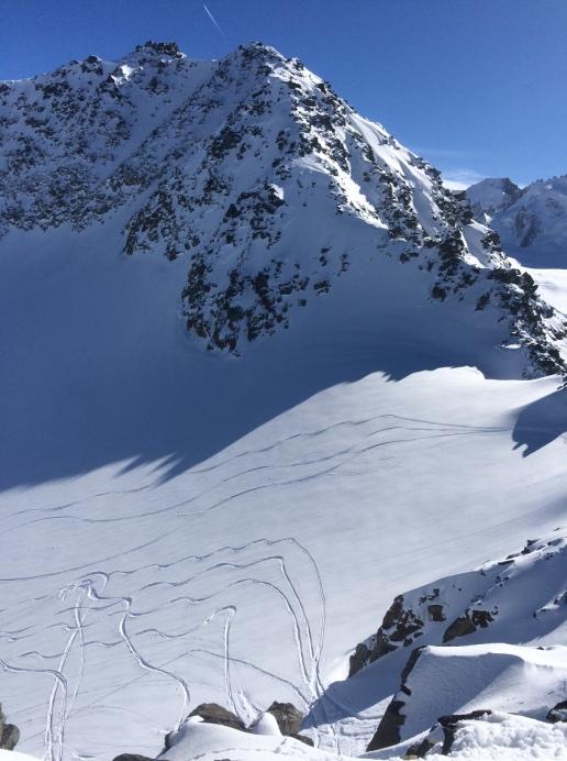 descente de la pointe de bron en splitboard et ski de rando