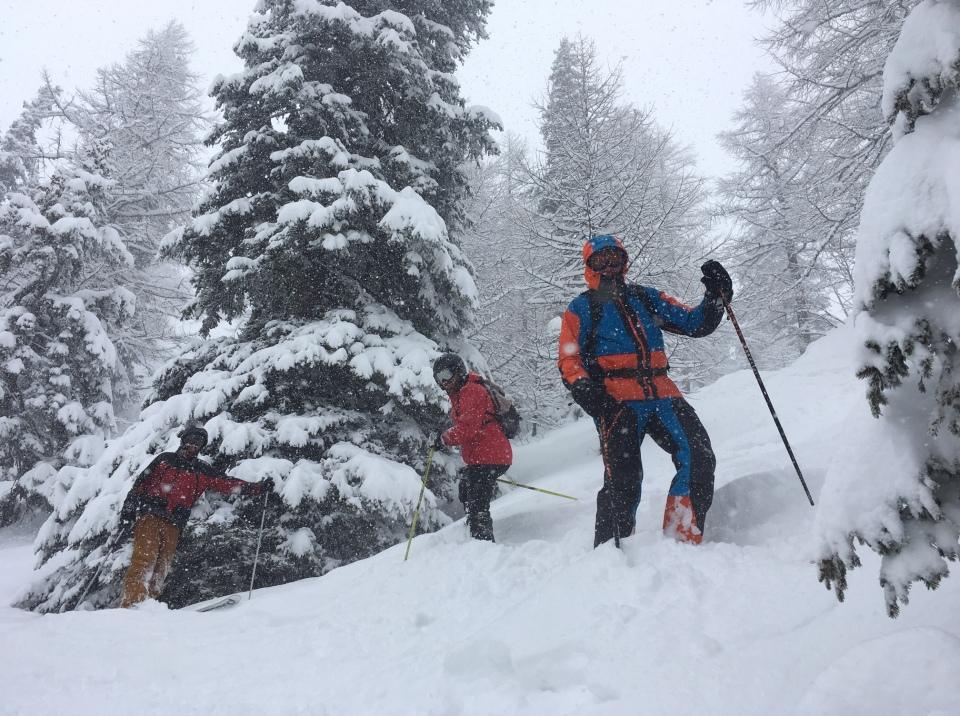 ski en foret à courmayeur