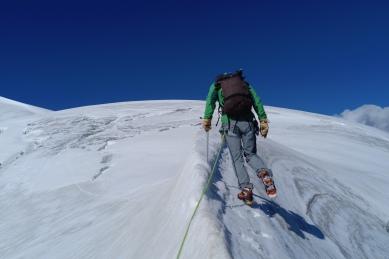en arrivant au sommet du Vélan par l'Arête de la Gouille