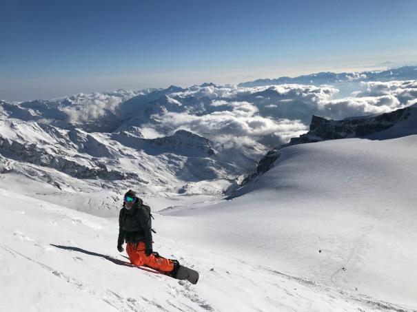 descente du Breithorn en snowboard splitboard
