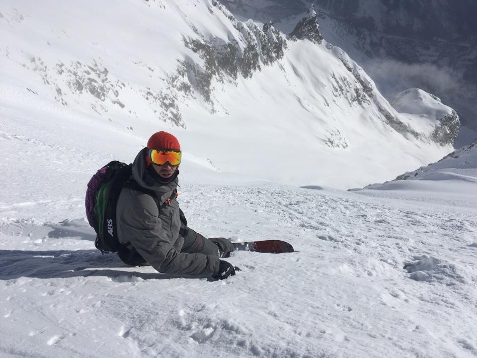 depuis le skyway, le col d'entrèves puis le glacier d'entrèves jusqu'au Pavillon