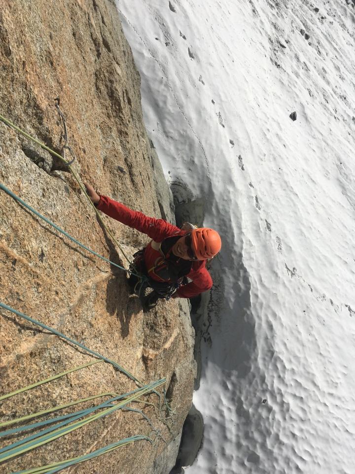 escalade en granit à la pointe lachenal